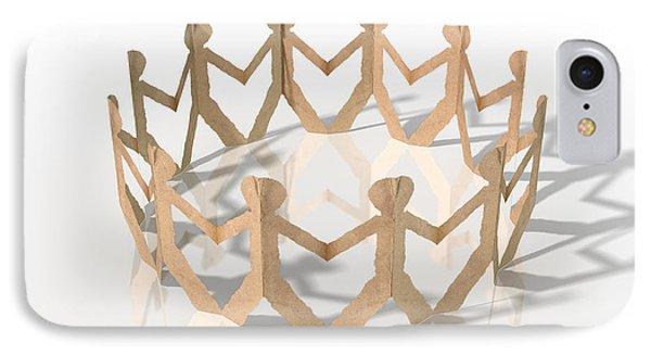 Circle Of Cutout Paper Cardboard Men IPhone Case by Allan Swart