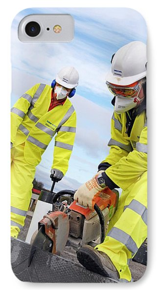 Circular Saw Operators IPhone Case by Crown Copyright/health & Safety Laboratory Science Photo Library