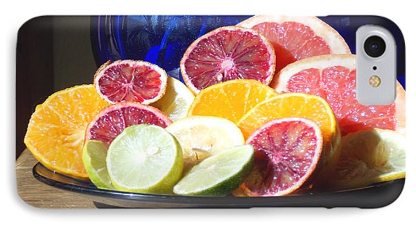 IPhone Case featuring the photograph Citrus And The Blue Pitcher 1 by Anastasia Savage Ealy