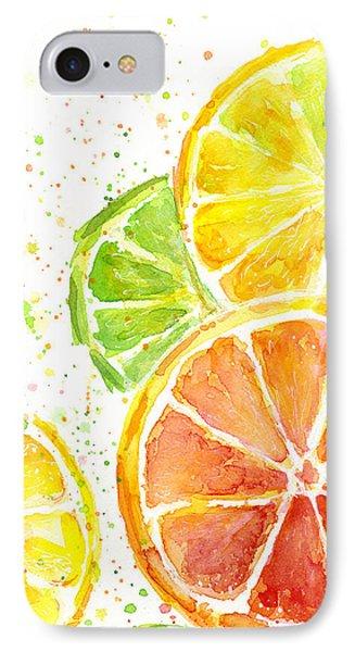 Citrus Fruit Watercolor IPhone 7 Case by Olga Shvartsur