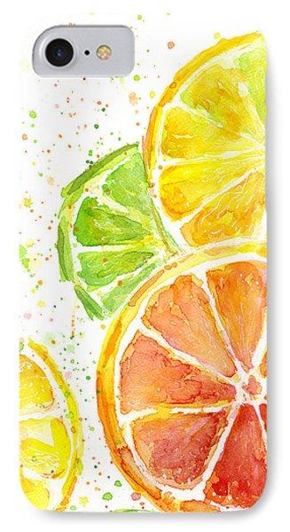 Citrus Fruit Watercolor IPhone Case by Olga Shvartsur