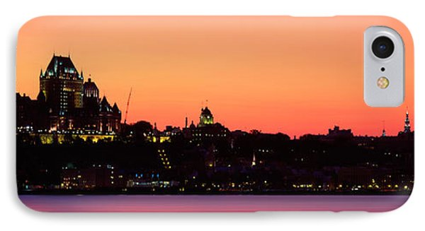 City At Dusk, Chateau Frontenac Hotel IPhone Case by Panoramic Images