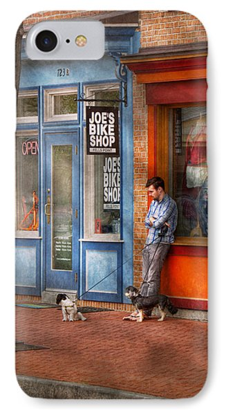 City - Baltimore Md - Waiting By Joe's Bike Shop  Phone Case by Mike Savad