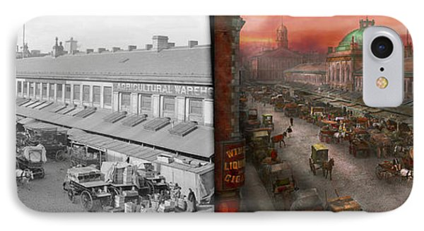 City - Boston Mass - Morning At The Farmers Market - 1904 - Side By Side IPhone Case by Mike Savad