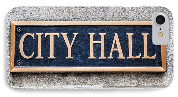 City Hall Municipal Sign In Chicago Phone Case by Paul Velgos