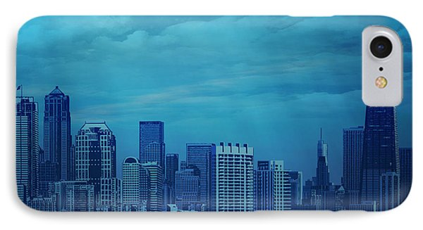 City In Blue IPhone Case by Bedros Awak