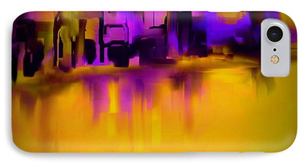 City In Purple And Gold IPhone Case by Jessica Wright