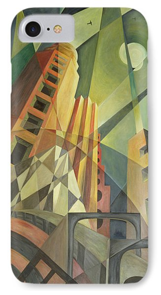 City In Shards Of Light Oil On Canvas IPhone Case by Carolyn Hubbard-Ford