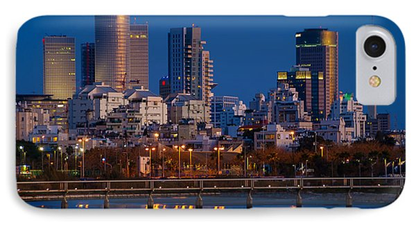 city lights and blue hour at Tel Aviv IPhone Case