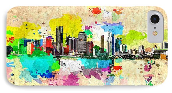 City Of Miami Grunge IPhone Case by Daniel Janda