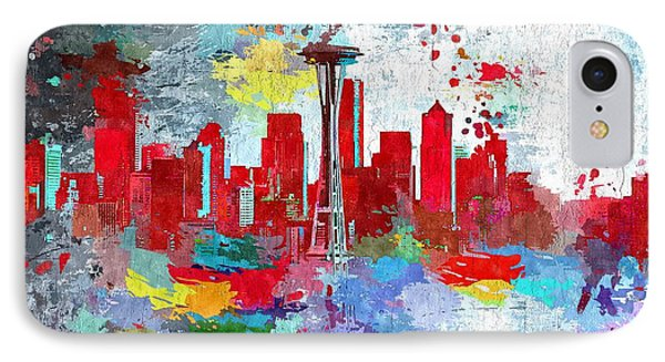 City Of Seattle Grunge IPhone Case by Daniel Janda