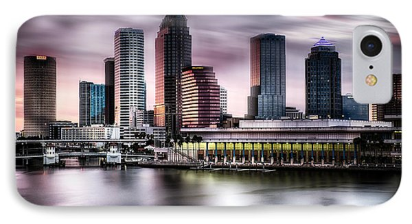 City Of Tampa Skyline At Dusk In Hdr IPhone Case by Michael White