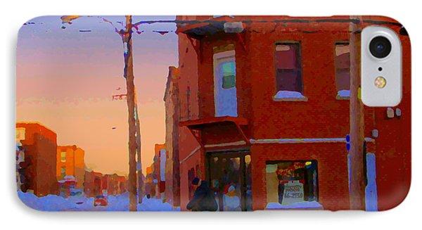 City Of Verdun Winter Sunset Pierrette Patates Art Of Montreal Street Scenes Carole Spandau Phone Case by Carole Spandau