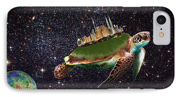 City Riding Through Space IPhone Case by Bruce Iorio