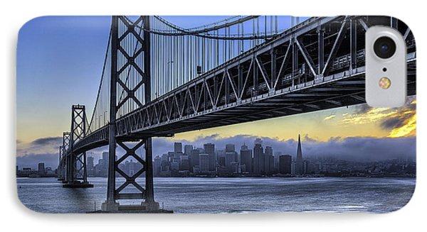City Skyline Under The Bay Bridge IPhone Case by Peter Dang