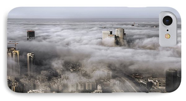 IPhone Case featuring the photograph City Skyscrapers Above The Clouds by Ron Shoshani