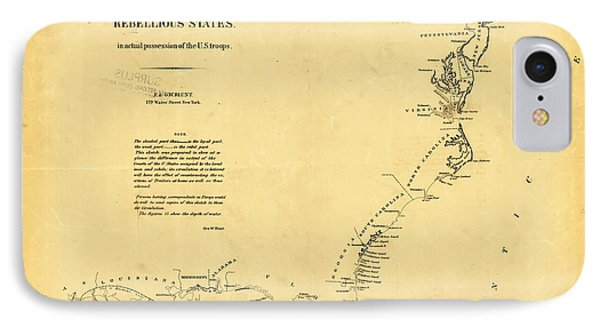 Civil War Map Of Us Coasts 1862 IPhone Case by Celestial Images