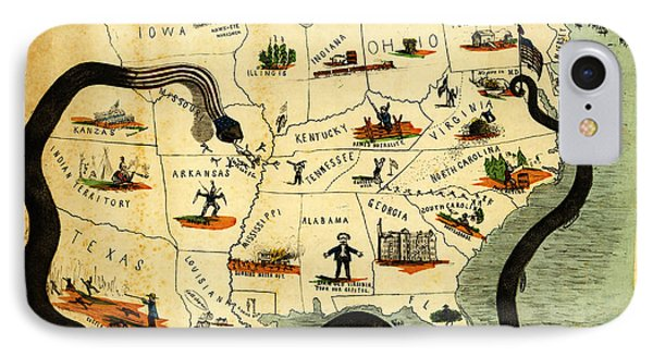 Civil War Map Scotts Great Snake 1861 IPhone Case by Celestial Images