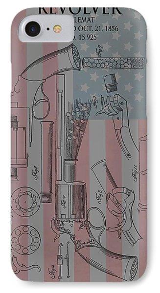 Civil War Revolver American Flag IPhone Case by Dan Sproul