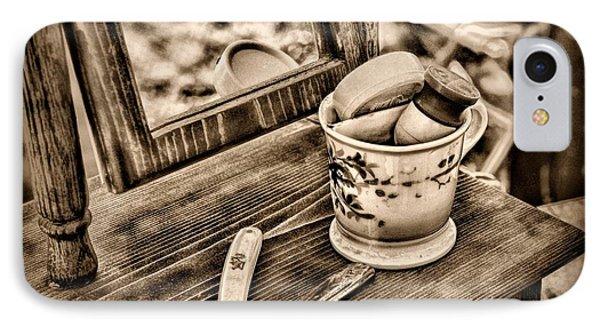 Civil War Shaving Mug And Razor Black And White Phone Case by Paul Ward
