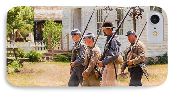 Civil War Soldiers Marching  IPhone Case