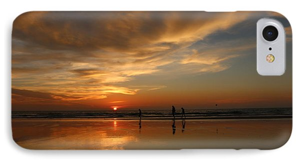 Clam Digging At Sunset -1  IPhone Case by Christy Pooschke