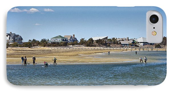 Clammers On Tidal Flats IPhone Case by Dennis Coates