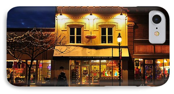 Clare Michigan Decorated For Christmas 3 IPhone Case by Terri Gostola