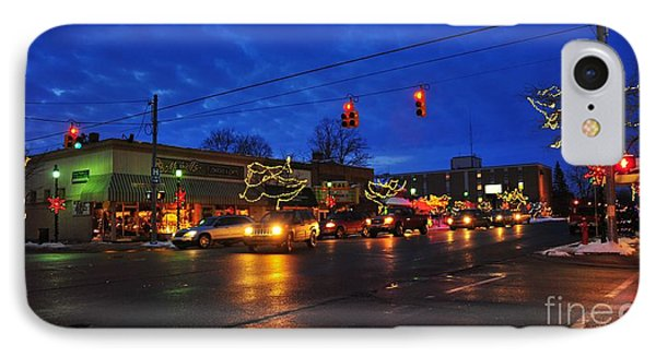 Clare Michigan Decorated For Christmas IPhone Case by Terri Gostola