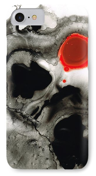Clarity - Black And White Art Red Painting Phone Case by Sharon Cummings