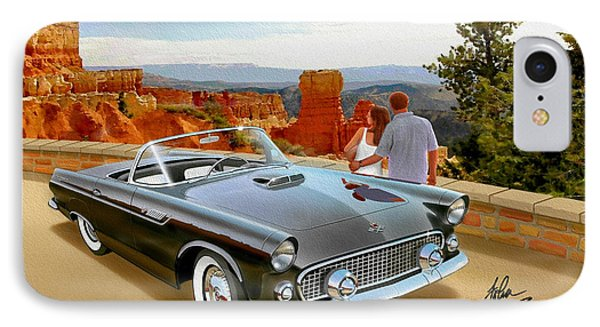Classic 1955 Thunderbird At Bryce Canyon Black  IPhone Case by John Samsen
