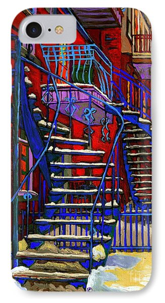 Classic Blue Winding Staircase Montreal Winter City Scene Painting  By Carole Spandau Phone Case by Carole Spandau