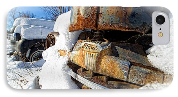 Classic Ford Pickup Truck In The Snow IPhone Case by Edward Fielding