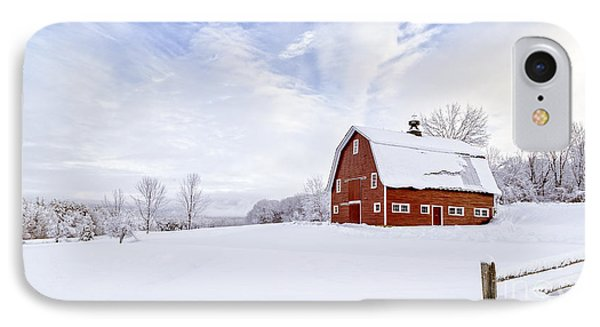 Classic New England Red Barn In Winter IPhone Case by Edward Fielding