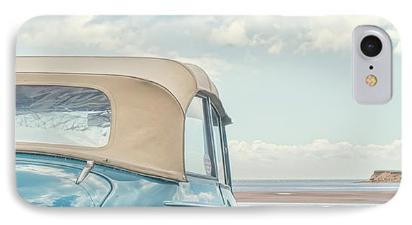 Classic Vintage Morris Minor 1000 Convertible At The Beach Phone Case by Edward Fielding