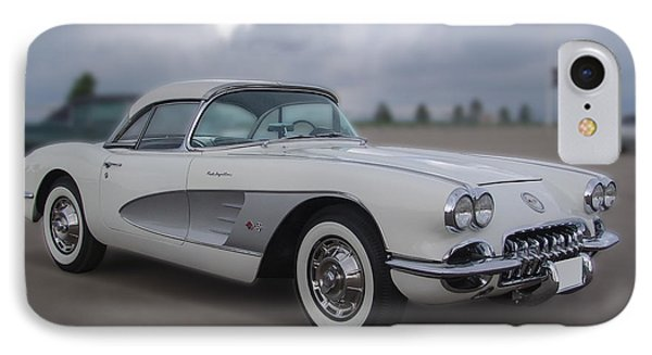Classic White Corvette IPhone Case by Chris Thomas