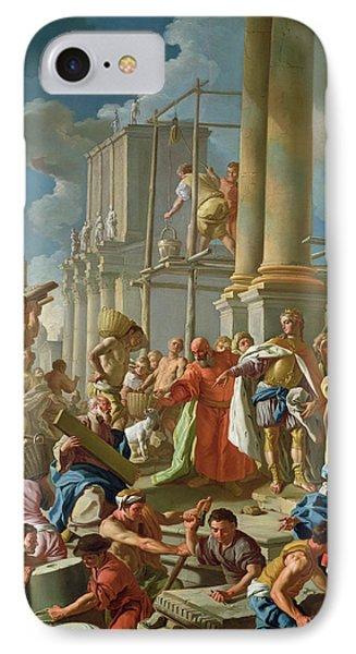 Classical Construction Scene Oil On Panel IPhone Case by Francesco de Mura