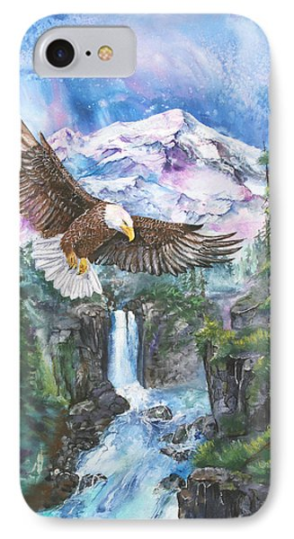 IPhone Case featuring the painting Cleared For Landing Mount Baker by Sherry Shipley