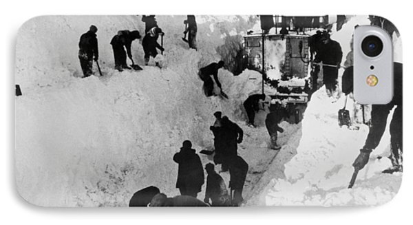 Clearing Snow For Trains IPhone Case by Underwood Archives