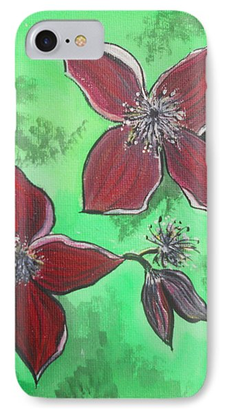Clematis Burgundy IPhone Case by Kathy Spall