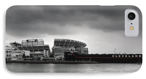 Cleveland Browns Stadium From The Inner Harbor IPhone Case by Kenneth Krolikowski