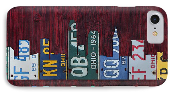 Cleveland Ohio City Skyline License Plate Art On Wood IPhone Case