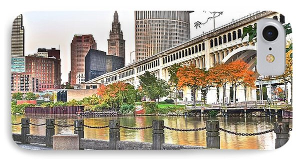 Cleveland Panorama Over The Cuyahoga IPhone Case by Frozen in Time Fine Art Photography