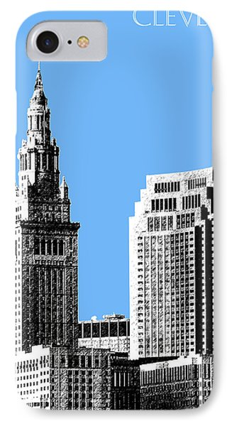 Cleveland Skyline 1 - Light Blue IPhone Case by DB Artist