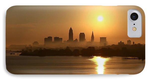 Cleveland Skyline At Sunrise IPhone Case by Daniel Behm