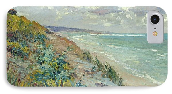 Beach iPhone 7 Case - Cliffs By The Sea At Trouville  by Gustave Caillebotte