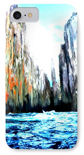 IPhone Case featuring the painting Cliffs By The Sea by Bruce Nutting