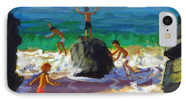 Climbing Rocks Porthmeor Beach St Ives Phone Case by Andrew Macara
