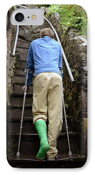 Climbing Steps On Crutches IPhone Case