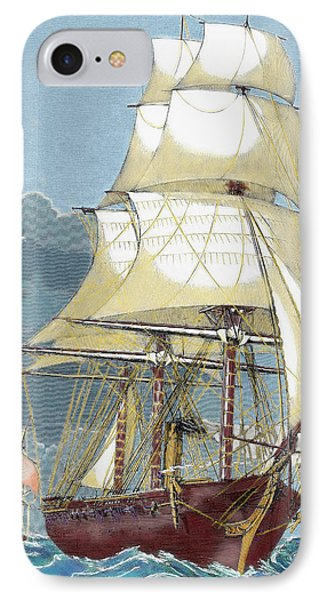 Clipper 19th-century Colored Engraving IPhone Case by Prisma Archivo